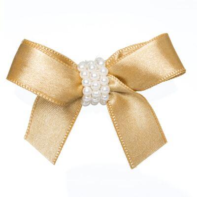 Imagem 1 do produto Presilha Laço cetim Pérolas Dourada - Roana