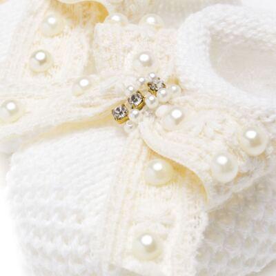 Imagem 2 do produto Sapatinho para bebe em tricot Laço Pérolas & Strass Marfim - Roana
