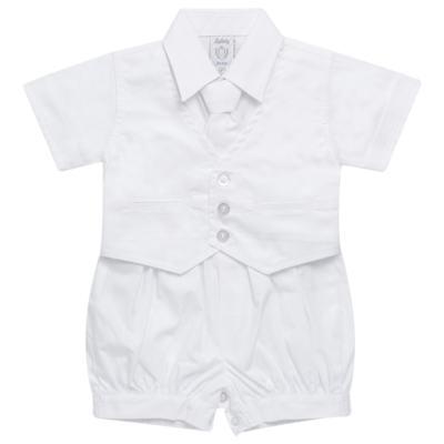 Imagem 1 do produto Camisa Colete & Gravata com Shorts em tricoline Branco - Sylvaz - SZ487 CONJUNTO CURTO BATIZADO C/ COLETE E GRAVATA-G