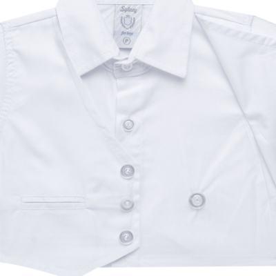 Imagem 4 do produto Camisa Colete & Gravata com Shorts em tricoline Branco - Sylvaz - SZ487 CONJUNTO CURTO BATIZADO C/ COLETE E GRAVATA-G