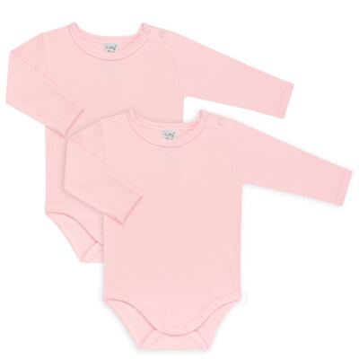 Kit 2 Bodies longos para bebe Rosa - Vicky Lipe - LTPBML16 PACK 2 BODIES ML ROSA BB-M