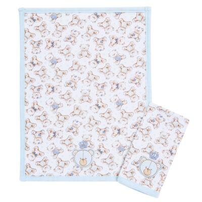 Imagem 1 do produto Kit com 2 fraldinhas de boca para bebe em algodão egípcio c/ jato de cerâmica  Prince Bear - Classic for Baby