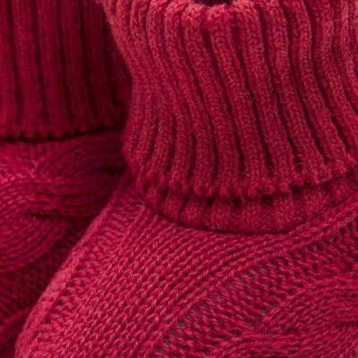 Imagem 2 do produto Botinha para bebe em tricot trançado Vermelha - Mini Sailor