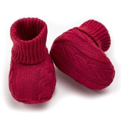 Imagem 3 do produto Botinha para bebe em tricot trançado Vermelha - Mini Sailor