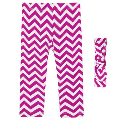 Imagem 1 do produto Legging c/ Faixa de cabelo para bebe em lycra Chevron Pink - Letiti - LTT03 LEGGING FAIXA LUMA PINK-1