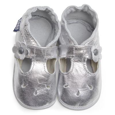 Imagem 1 do produto Sapatilha Boneca para bebe em couro Eco Prata - Babo Uabu - BABO35 Sandalia Boneca Prata-12-18 meses
