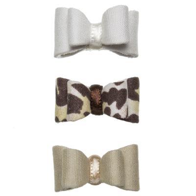 Imagem 1 do produto Kit: 3 Laços duplos c/ velcro Bege/Oncinha/Branco - Roana
