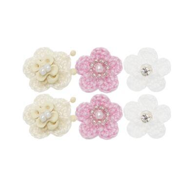 Imagem 1 do produto Kit: 6 Flores em crochê c/ velcro Branca/Rosa/Marfim - Roana