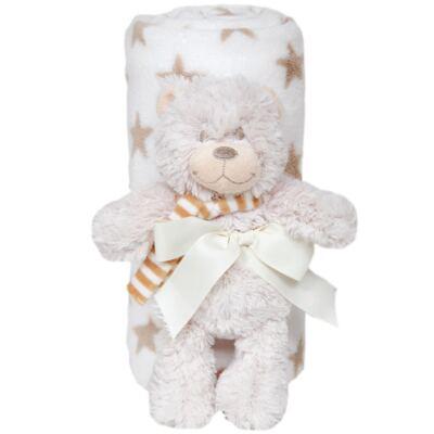 Imagem 1 do produto Ursinho com Mantinha em soft Estrelas Caqui (3m+) - Buba