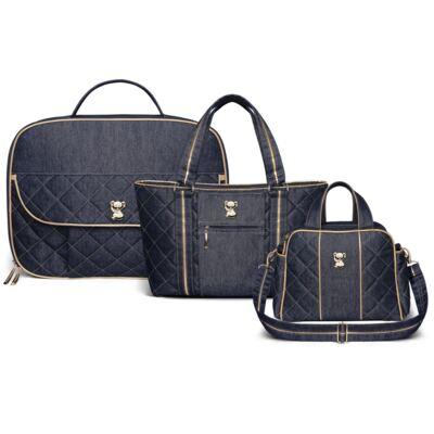 Imagem 1 do produto Kit Mala maternidade para bebe + Bolsa Toledo + Frasqueira Santiago Golden Denim - Classic for Baby Bags