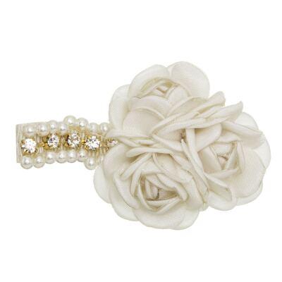 Imagem 1 do produto Presilha Mini Flores Pérolas & Strass Marfim - Roana