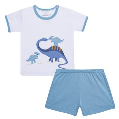 Imagem 1 do produto Pijama curto para bebe em suedine Dino - Dedeka - DDK17123/L44 Pijama Ribana Azul Sereno-M