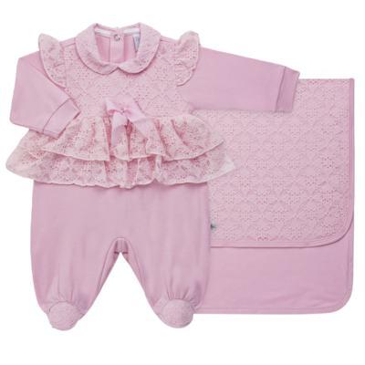 Imagem 1 do produto Jogo Maternidade para bebe com Macacão e Manta em suedine Gabrielly - Beth Bebê - BB8824 Saida Maternidade Suedine Gabrielly-P