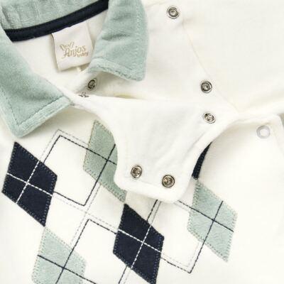 Imagem 3 do produto Macacão longo para bebe em plush Argyle - Anjos Baby - AB171129.006 MACACAO LONGO MASC T12-P