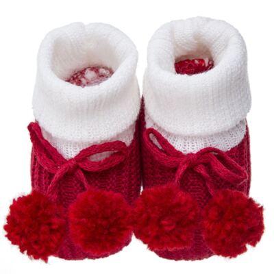 Imagem 1 do produto Botinha pompom em tricot Branca/Vermelha - Roana