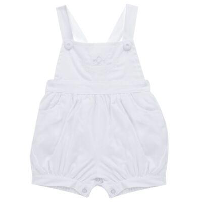 Imagem 4 do produto Jardineira c/ Camisa para bebe em tricoline Branca - Sylvaz - SZ411 Conjunto curto Batizado Branco-G