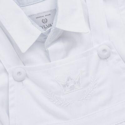 Imagem 5 do produto Jardineira c/ Camisa para bebe em tricoline Branca - Sylvaz - SZ411 Conjunto curto Batizado Branco-G