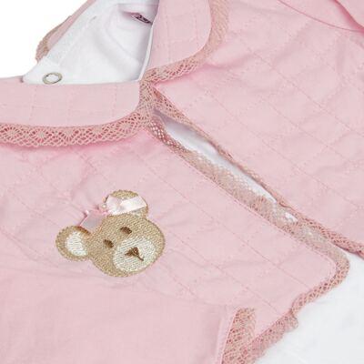 Imagem 3 do produto Conjunto Matelassê para bebe Ursinha: Casaco + Body longo + Calça - Roana
