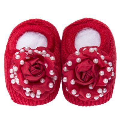 Imagem 2 do produto Sapatinho em tricot com Faixa Flor & Pérolas Vermelha - Roana
