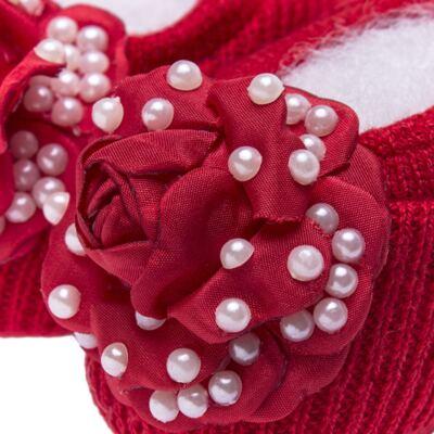 Imagem 3 do produto Sapatinho em tricot com Faixa Flor & Pérolas Vermelha - Roana