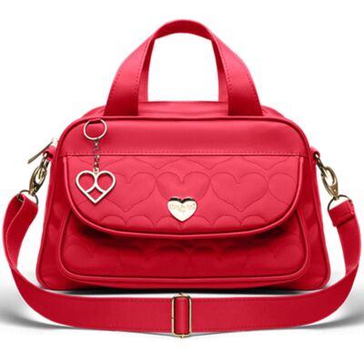 Imagem 1 do produto Bolsa Térmica para bebe Valencia Corações Matelassê Vermelha - Classic for Baby Bags