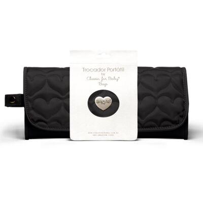 Imagem 1 do produto Trocador Portátil para bebe Corações Matelassê Preto - Classic for Baby Bags
