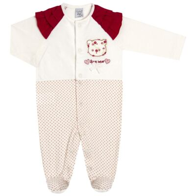Imagem 1 do produto Macacão babadinhos para bebe em malha Flowery Bear - Vicky Lipe - 20741360 MACACÃO ML C/REC E BABADOS MALHA URSA FLORAL-RN