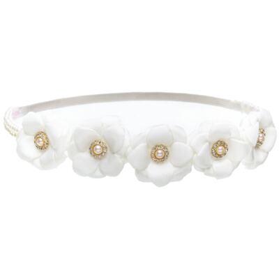 Imagem 1 do produto Headband Flores Pérolas & Strass Marfim - Roana