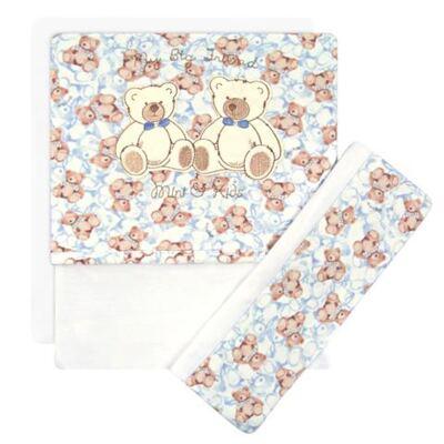 Imagem 1 do produto Jogo de lençol para berço em malha Blue Teddy Bear - Classic for Baby