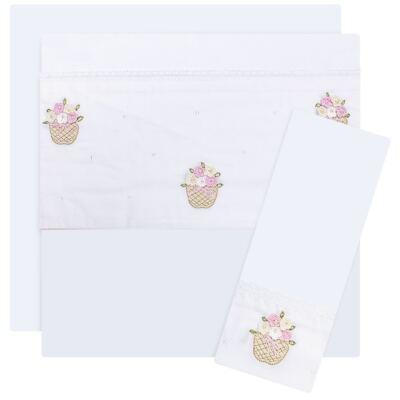 Imagem 1 do produto Jogo de lençol para berço em malha Florzinhas - Roana