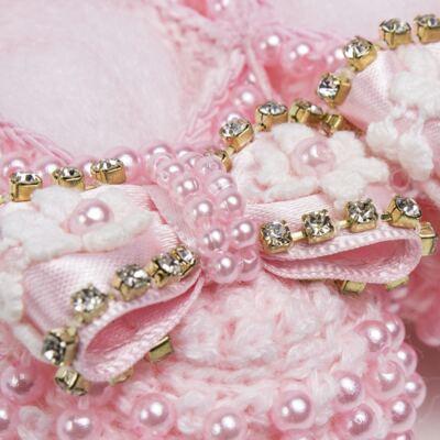 Imagem 2 do produto Sapatinho para bebe em tricot Pérolas & Laço Rosa - Roana