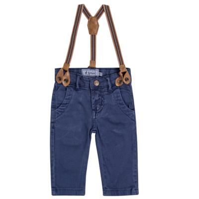 Imagem 1 do produto Calça & Suspensório jeans masculina para bebê Denim - Toffee & Co. - 4253 CALÇA BABY SAR SUSP MASC SARJA AZUL ESCURO-P