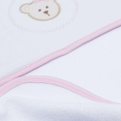 Imagem 3 do produto Toalha com capuz para bebe Pink Teddy Bear - Hey Baby - JBTER-21 Toalha de Banho Teddy Rosa 80x80
