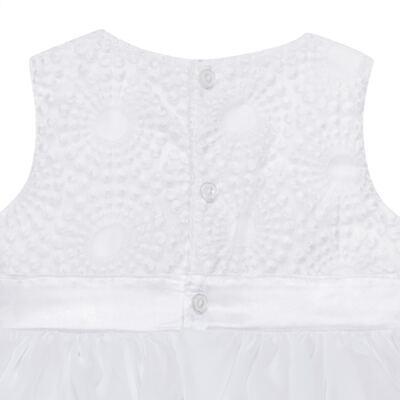 Imagem 3 do produto Vestido para bebê em organza Laço Branco - Sylvaz - SZ1064 VESTIDO BATIZADO REGATA LAÇO BRANCO-G