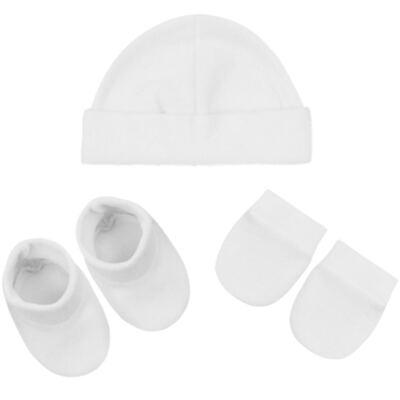 Imagem 1 do produto Kit c/ Touca, Luva e Sapatinho para bebe em malha Branco - Pingo Lelê
