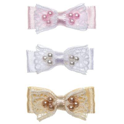 Imagem 1 do produto Kit: 3 Lacinhos c/ velcro Cetim & Renda Branco/Rosa/Bege - Roana