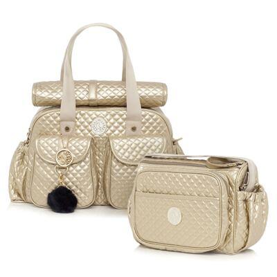 Imagem 1 do produto Bolsa maternidade + Frasqueira New Metálica Ouro - Lequiqui