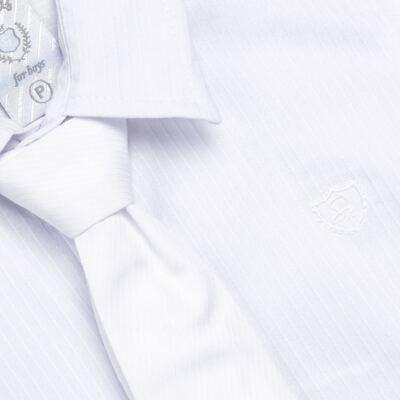 Imagem 2 do produto Camisa & Gravata c/ Calça para bebe em tricoline Branco - Sylvaz - SZ745 CONJUNTO BATIZADO C/ GRAVATA BRANCO-M