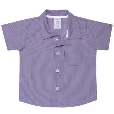 Imagem 1 do produto Camisa para bebe em tricoline Listras - Sylvaz - SZ1127 CAMISA LISTRAS MC ROXO-G