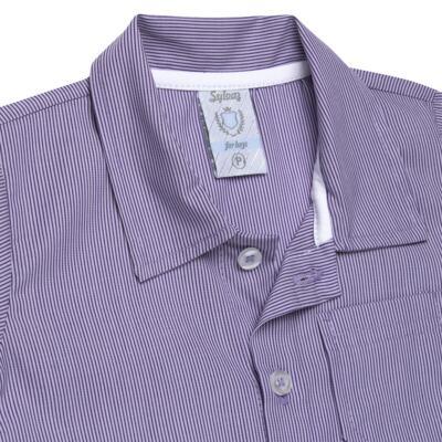 Imagem 2 do produto Camisa para bebe em tricoline Listras - Sylvaz - SZ1127 CAMISA LISTRAS MC ROXO-G