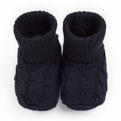 Imagem 1 do produto Botinha para bebe em tricot trançado Marinho - Mini Sailor