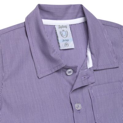 Imagem 2 do produto Camisa para bebe em tricoline Listras - Sylvaz - SZ1127 CAMISA LISTRAS MC ROXO-1