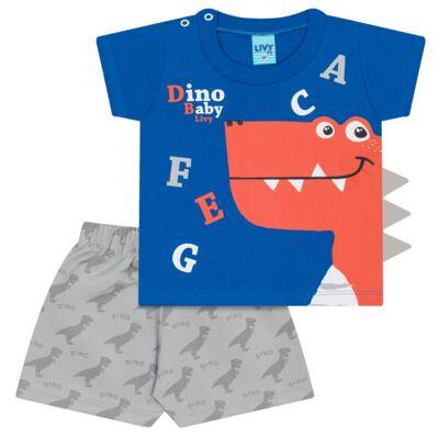 Imagem 1 do produto Camiseta c/ Shorts em tactel Blue Dino - Livy