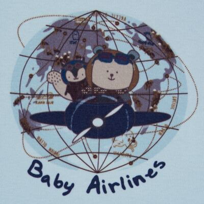 Imagem 3 do produto Regata com Cobre fralda em algodão egípcio Baby Airlines - Grow Up - 04070051.0003 RGTA C/ FRALDA AVIATOR AZUL-G