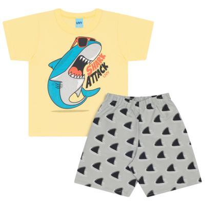 Imagem 1 do produto Camiseta amarela com Bermuda tactel Tutubarão - Livy