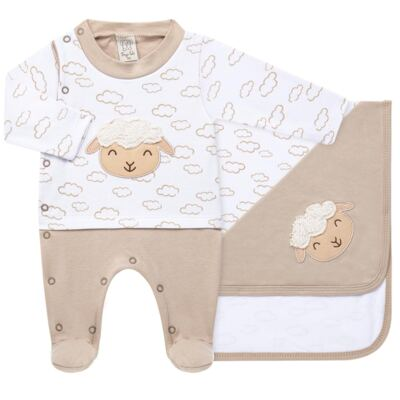 Imagem 1 do produto Jogo Maternidade com Macacão e Manta para bebe em malha Ovelhinha - Pingo Lelê - PL65721 KIT PRESENTE MACACAO E MANTA OVELINHA-P