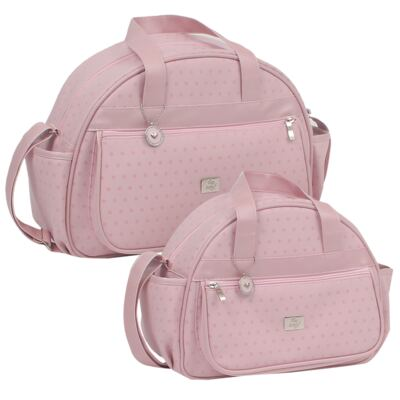 Imagem 1 do produto Bolsa maternidade + Frasqueira térmica Polka Dots Rosa - Hey Baby
