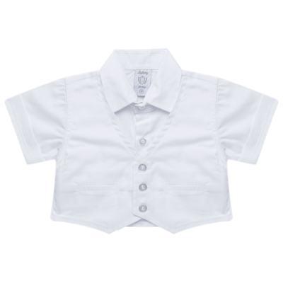 Imagem 3 do produto Camisa Colete & Gravata com Shorts em tricoline Branco - Sylvaz - SZ487 CONJUNTO CURTO BATIZADO C/ COLETE E GRAVATA-M