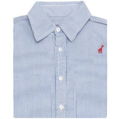 Imagem 2 do produto Camisa para bebe em tricoline listrado azul - Toffee - 1214C89660 CAMISA ML TECIDO AZ-9-12