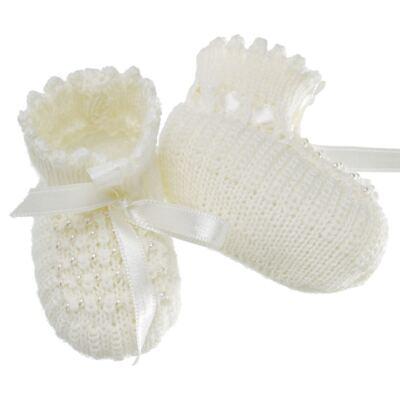 Imagem 2 do produto Botinha para bebe em tricot Laço cetim & pérolas Marfim - Roana
